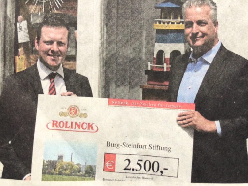 Die Burg-Steinfurt Stiftung freut sich über Rolinck Spende